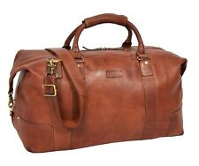 Real Soft Leather Holdall Classic Cross Body Large Organiser Gym Weekend Bag Tan