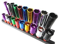 "Multi Coloured Socket Set 3/8"" Deep & Shallow 20pc Kit 6pt 10 - 19mm Cr-v Steel"
