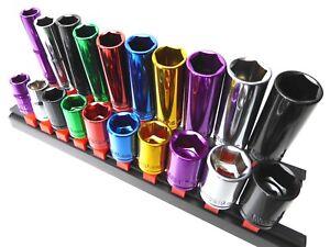 "Multi Coloured Socket Set 3/8"" Deep & Shallow 20pc Kit 6pt 10 - 19mm Cr-v Steel"