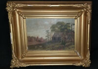 19thC Antique Country Cottage Primitive Landscape Folk Art Painting Frame Martan