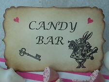 """Hermosa 6"""" X 4"""" Estilo Vintage Hecho a Mano Alicia en el país de las maravillas Candy Bar signo"""