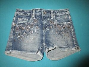 JUSTICE Girls Rhinestone Jean Shorts Size 14 Slim 14S