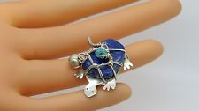 Blue Lapis Lazuli & Turquoise H1734 Awesome Sterling Silver Turtle Brooch Pin w/