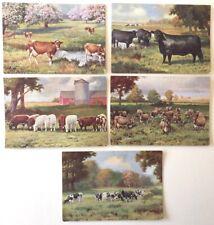 Set of 5 Cows/Cattle - artist R. Atkinson Fox
