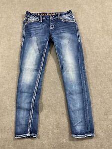 Rock Revival Easy Women's Distressed Ankle Skinny Blue Denim Jeans Size 27