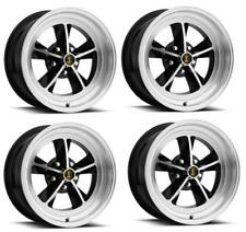"""Ford Mustang Wheel Kit: 15"""" x 7"""" Black / Machined w/ Hubcaps & Lugs Legendary"""