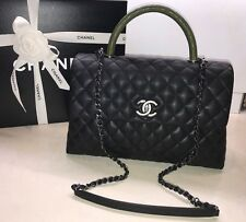 New CHANEL 2017 Coco Handle Black Caviar Medium KELLY Flap Khaki Green Lizard