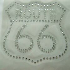 ROUTE 66 HIGHWAY BIKER ROAD SIGN RHINESTONE IRON ON APPLIQUE / HOT FIX TRANSFER