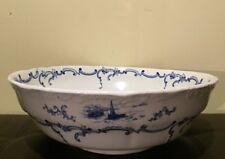 More details for vintage royal semi porcelain delft lange bowl england blue white windmills