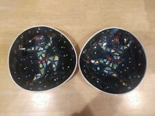 Colorful Pair of Mid Century Italian Pottery Bowls with Jesters/Harlequins