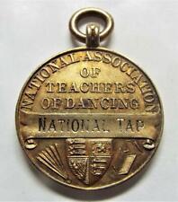 More details for sterling silver gilt 1946 national association of teachers tap dancing fob medal