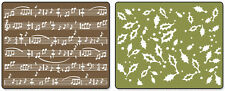 Sizzix Textured Impressions A2 Embossing Folders Holly Swirls & Sheet Music