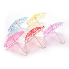 1X Umbrella for Barbies with Lace Girls Classic Dollhouse Furniture Color Random