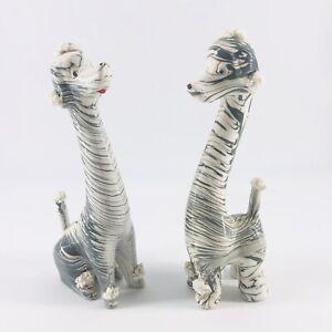 Vtg Pair 2 Enesco Japan Gray White Poodle Ceramic Spaghetti Accents Figurine