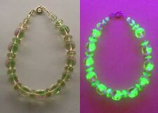 PINK and Green Round-Square Vaseline Glass Bracelet 14kt. gold-filled Signed MH