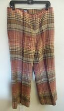 Womens Ladies Pants Designer Worth Linen Rose Tan Plaid Mid Rise Wide Leg Spring