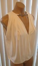 "PLEIN SUD White ""V"" Neck Sleeveless Top w/ Chain at the Neckline - Size 38"