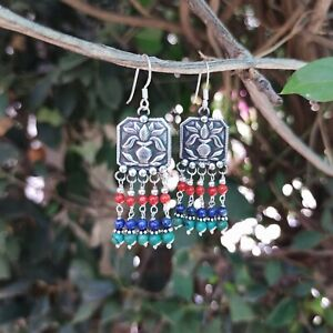 Mangal Kalash 925 Sterling Solid Silver  Earrings Coral Lapis Turquoise (I-43)