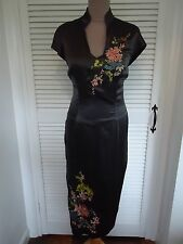 KAREN MILLEN RARE CHARCOAL GREY PURE SILK ORIENTAL EMBROIDERED DRESS SIZE UK 10.