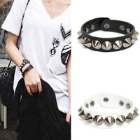 WR_ Punk Rock Faux Leather Rivet Stud Spike Bracelet Cuff Bangle Wristband Super