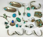 Native American Jewelry Lot Parts Repair Only Sterling & Unmarked 167.6 Grams