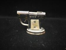 Continental Chrome Pistol Table Lighter with Stand and Mother of Pearl Handles