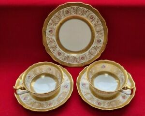 Vintage Cauldon GOLD Encrusted Teaset Twin x 2. Cups, Saucers, Plate