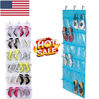 24 Pocket Clear Over The Door Shoe Organizer Space Saver Hanging Closet Storage