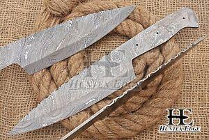 HUNTEX Custom Hand-Forged Damascus Steel 290 mm Long Full Tang Blank Blade Knife
