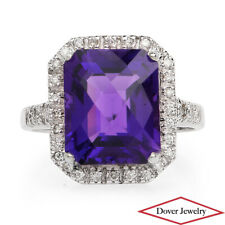 Estate Diamond 11.25ct Amethyst 18K White Gold Halo Cocktail Ring 5.5 Grams NR