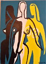 "Tableau portrait style moderne "" Les 3 grâces "" signé Yves Decaudan"