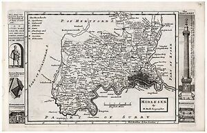 Old Vintage Antique Midlesex map Moll ca. 1724