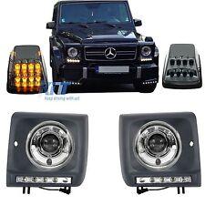 Fari Mercedes G-Class W463 Bi-Xenon Look 89-12+Turning Lights Copre LED DRL