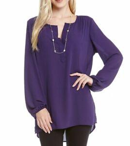 Karen Kane 4L25268 Northern Lights Purple Split Palette Side Slit Blouse - $89