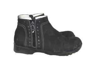 Jambu J Sport 9 M Black Jenna Ankle Boots Side Zip Faux Leather Weather Ready