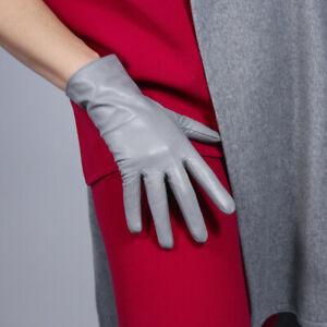 REAL LEATHER GLOVES Wrist Short Lambskin Sheepskin 25cm Purple Lavender Violet
