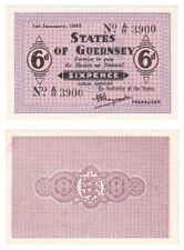 Guernsey 6 peniques 1943-problema de la segunda guerra mundial-ByB Ref: GU24c-UNC.