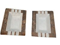 "2 Vintage Rectangular, White Ceramic Ashtrays w/ Brown Faux Wood 7"" x 5.75"""