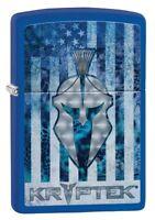 Zippo Kryptek Blue American Flag Royal Blue Matte Windproof Pocket Lighter, 4...