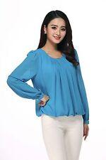 Women's plis taille élastique Mousseline Chemisier Taille: UK 12 Bleu Turquoise