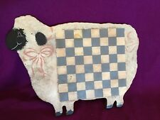 Bunny's Burrow Lamb Wooden Board Chess Checkers Game Board Wall Or Table Vintage