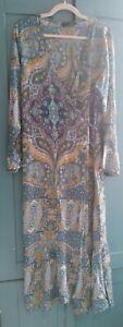 Zanzea Long Floaty Paisley Wrap Dress 14-16 Blue Green Ochre Lilac Lagenlook