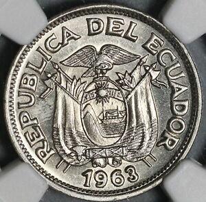 1963 NGC MS 66 Ecuador 50 Centavos Gem BU Mint State Coin (21052404C)