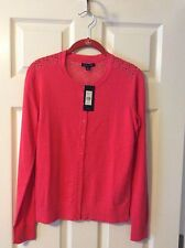 Tommy Hilfiger New SALMON PINK BRIGHT EYELET Button-Down Cardigan S $79.99