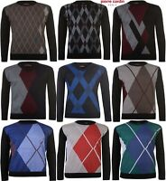 Pierre Cardin Crew Neck,V Neck Argyle Jumper Knitted Sweater Pullover M,L,XL,XXL