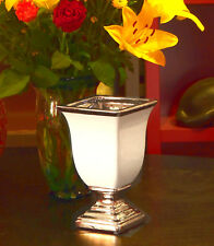 Vase Schale  Pokal Bozze Keramik weiß silber edel