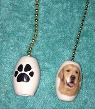 One Golden Retriever Dog Fan Pull With A Paw Print On The Back 1""