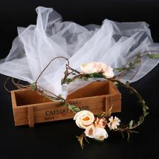 Boho Women Bridal Champagne Flower Vine Garland DIY Hair Tiara Hairband Headband