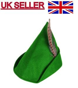 ADULT FANCY DRESS ROBIN HOOD GREEN HAT PETER PAN CAP WITH FEATHER MEDIEVAL