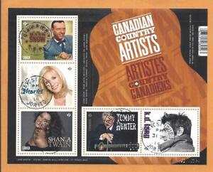 2014 Canadian Country Artists Souvenir Sheet First Day Cancel